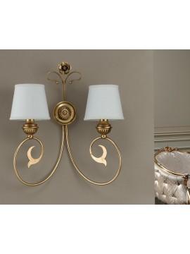 Applique classico in ferro battuto foglia oro 2 luci Ap 164/2