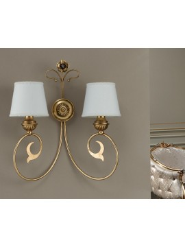 Classic applique in wrought iron gold leaf 2 lights Ap 164/2