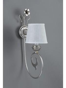 Applique classico in ferro battuto foglia argento 1 luce Ap 164/1
