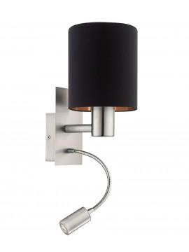 Applique moderno in tessuto nero con led 2 luci GLO 96483 Pasteri