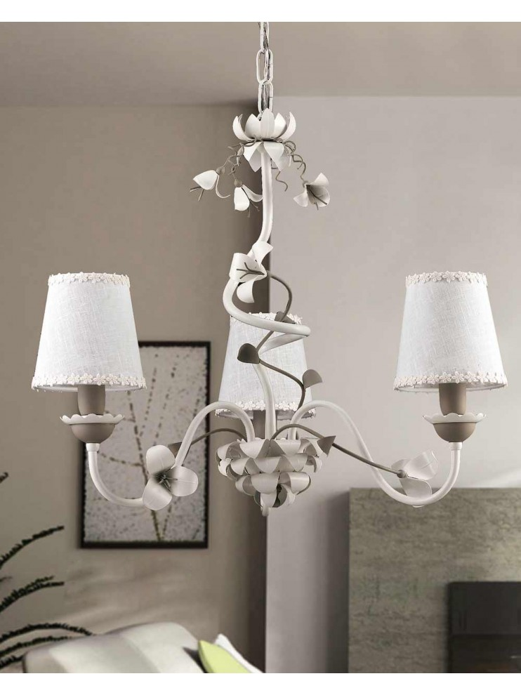 Contemporary chandelier in white and dove gray 3 lights LS 157/3