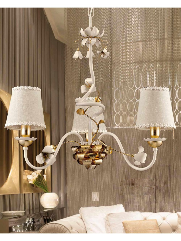Lampadario classico ferro battuto avorio e foglia oro 3 luci LS 157/3