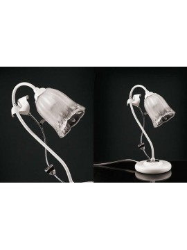 Contemporary table lamp in white-chrome wrought iron LP 157 / v