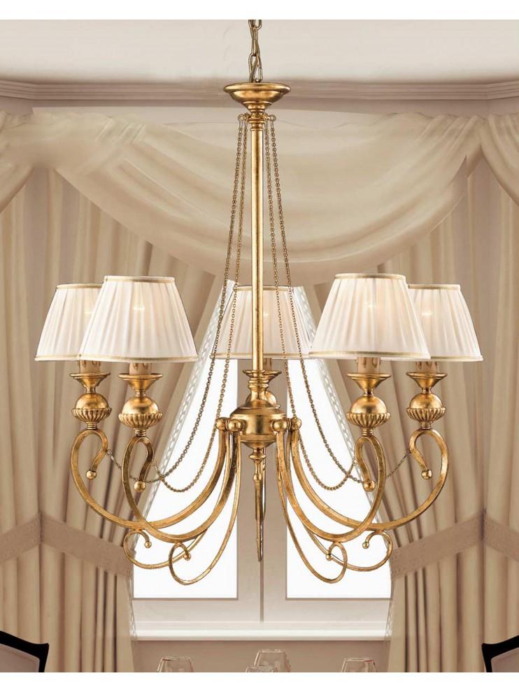 Lampadario in ferro battuto classico foglia oro LS 105/5