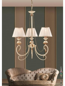Chandelier in wrought iron classic ivory-gold 3 lights LS 105/3