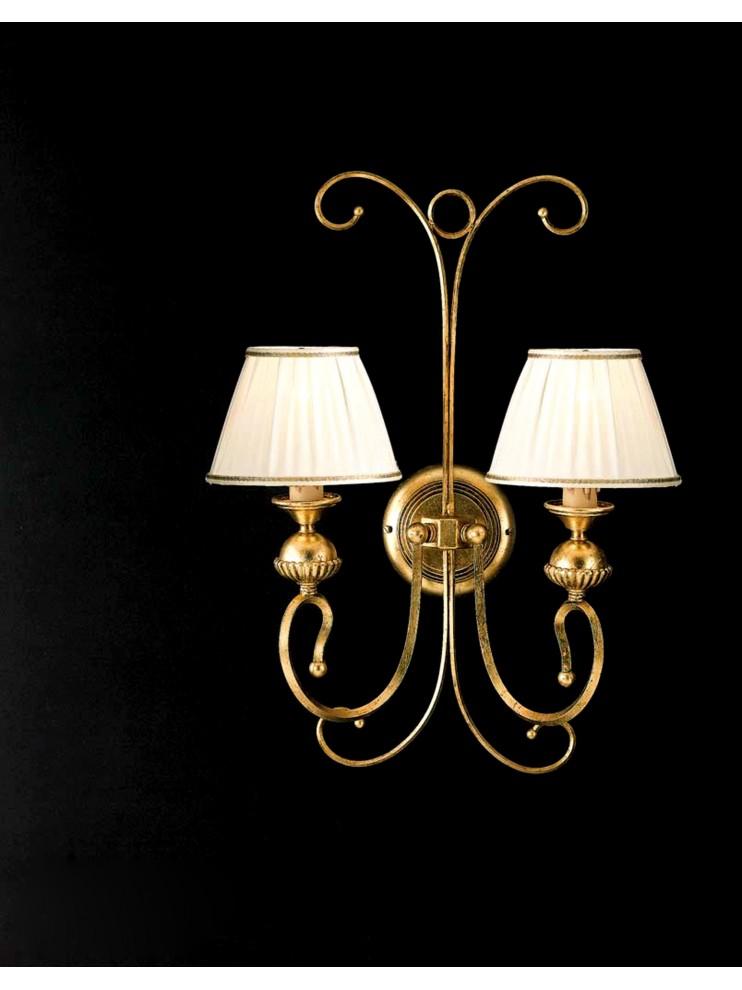 Applique in ferro battuto classico foglia oro 2 luci ap 105/2