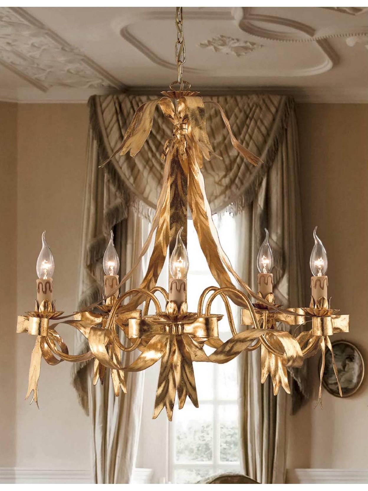 Lampadario classico in ferro battuto foglia oro 5 luci ls for Lampadario classico