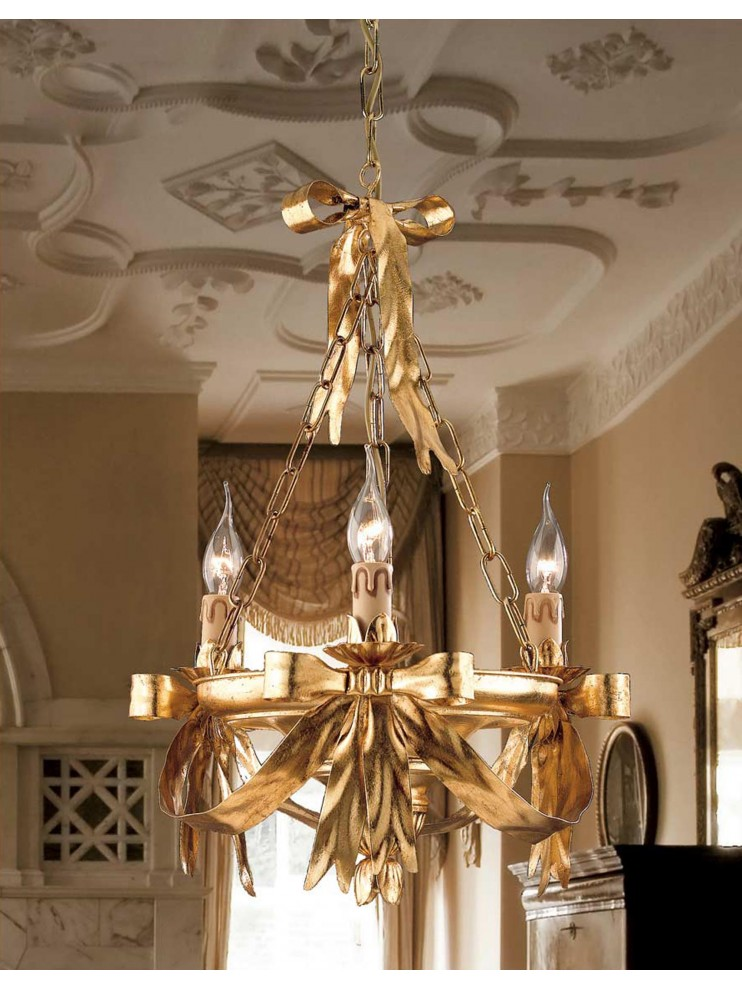 Classic chandelier in wrought iron gold leaf 3 lights So 108/3