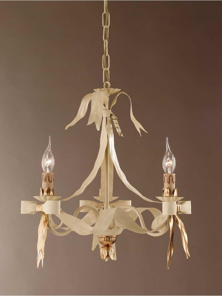 Classic chandelier wrought iron ivory-gold 3 lights LS 108/3