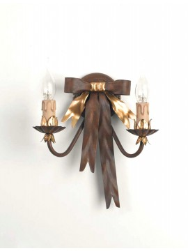 Classic applique in wrought iron 2 lights rust-gold Ap 108/2