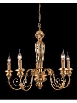 Lampadario classico in legno ferro battuto foglia oro 5 luci LS 144/5