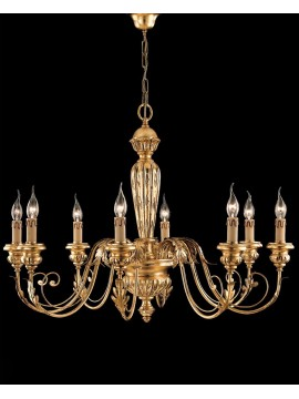Classic chandelier in wrought iron wood, gold leaf 8 lights LS 144/8