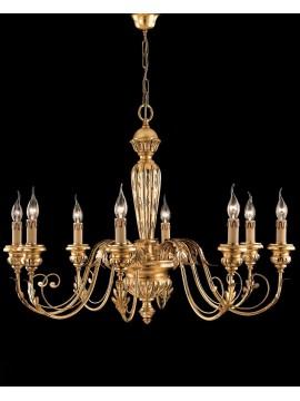 Lampadario classico in legno ferro battuto foglia oro 8 luci LS 144/8