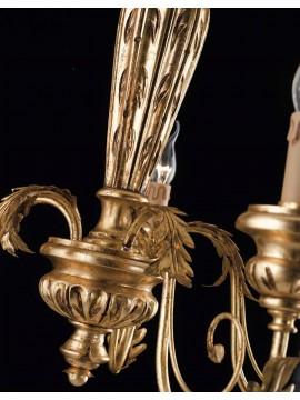 Lampadario classico in legno ferro battuto foglia oro 3 luci LS 144/3