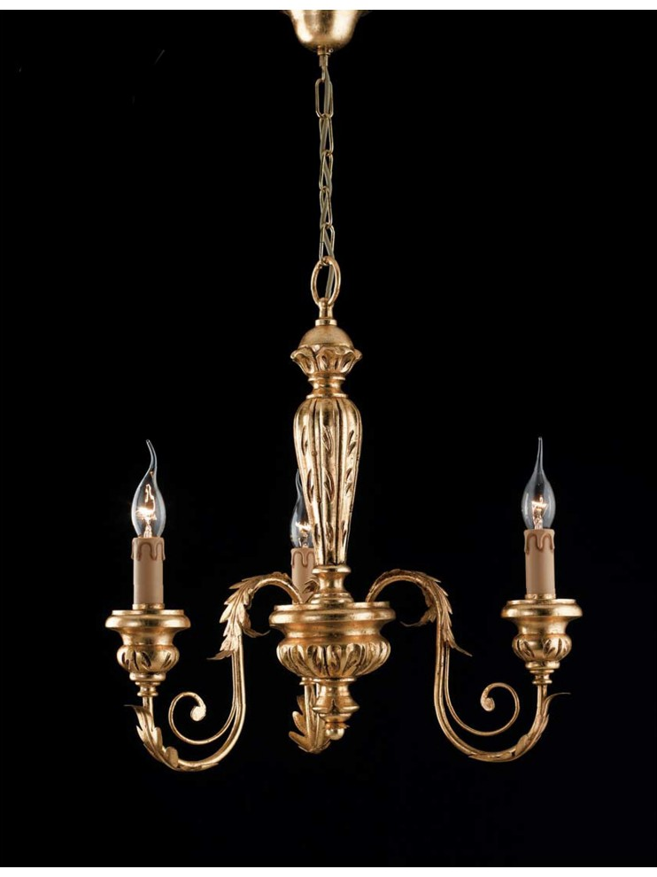 Classic chandelier in wrought iron wood, gold leaf 3 lights LS 144/3