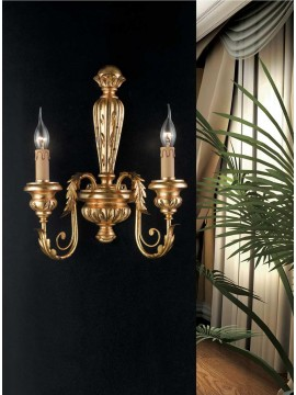 Classic wall light in wrought iron wood, gold leaf 2 lights Ap 144/2