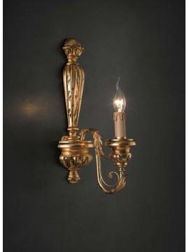 Applique classico in legno ferro battuto foglia oro 1 luce Ap 144/1
