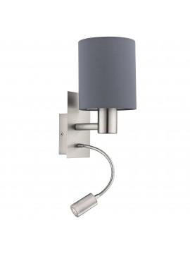 Applique moderno in tessuto grigio con led 1 luce GLO 96479 Pasteri