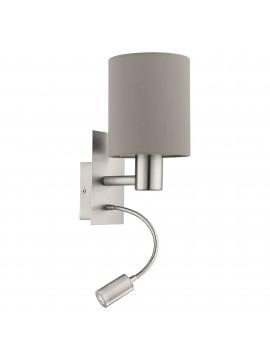 Applique moderno in tessuto tortora con led 1 luce GLO 96478 Pasteri