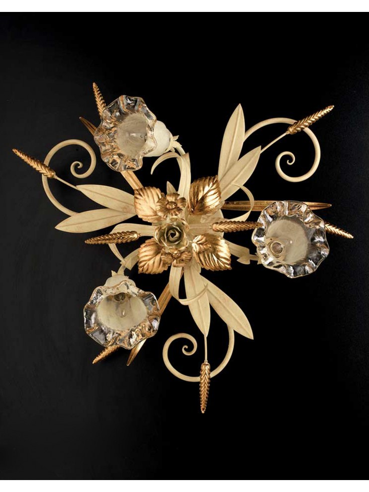 Plafoniera in wrought iron classic ivory-gold PL 119/3
