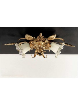 Classic ceiling lamp in wrought iron, gold leaf 2 lights PL 119/2