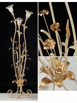Piantana classica in ferro battuto avorio-oro 3 luci LT 119/3