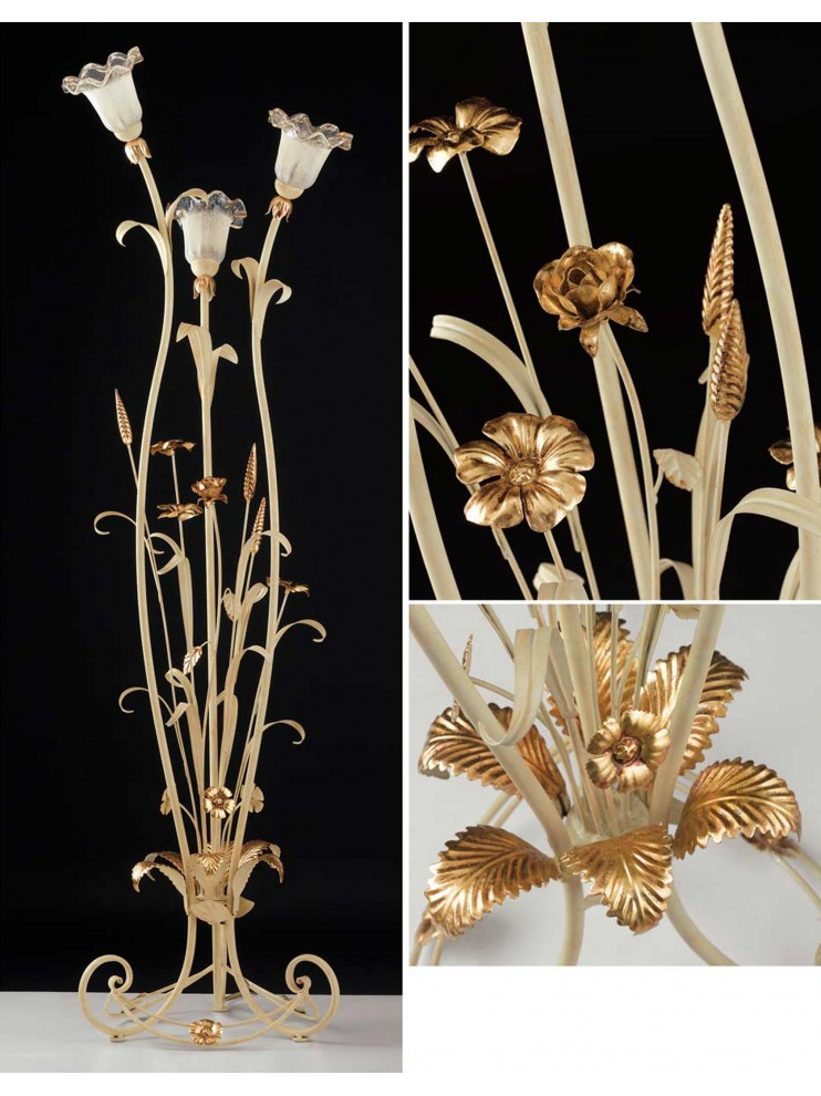 Classic floor lamp in wrought iron ivory-gold 3 lights LT 119/3
