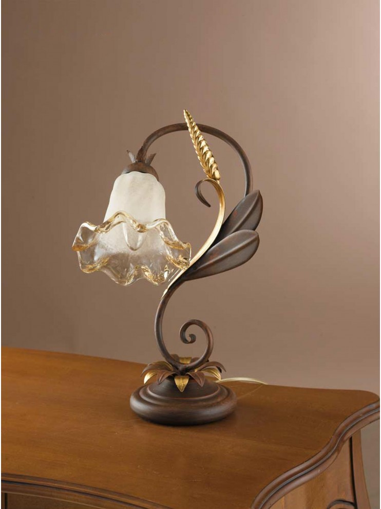 Classic table lamp in rust-gold wrought iron 1 light LP 119
