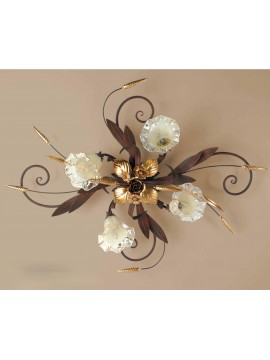 Classic ceiling light in rust-gold wrought iron 4 lights Pl 119/4