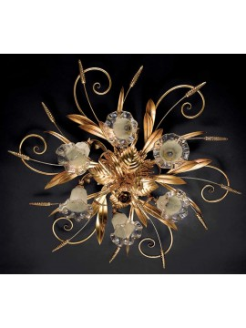 Classic ceiling lamp in wrought iron, gold leaf 6 lights, Pl 119/6