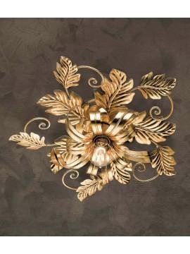 Plafoniera in ferro battuto classico foglia oro 1 luce PL 130/1