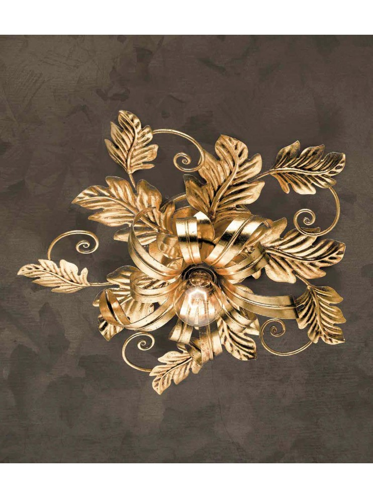 Ceiling lamp in wrought iron classic gold leaf 1 light PL 130/1