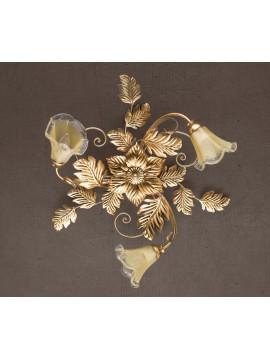 Plafoniera classica in ferro battuto foglia oro murano PL 130/3