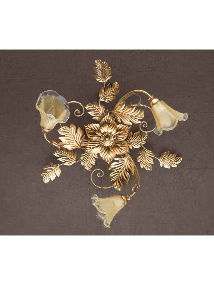 Classic ceiling lamp in wrought iron, Murano gold leaf PL 130/3