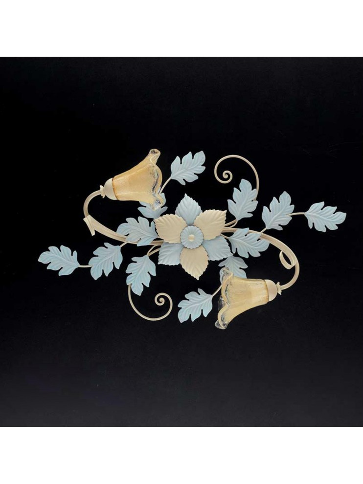 Classic ceiling lamp in wrought iron ivory-light blue PL 130 / 2OV