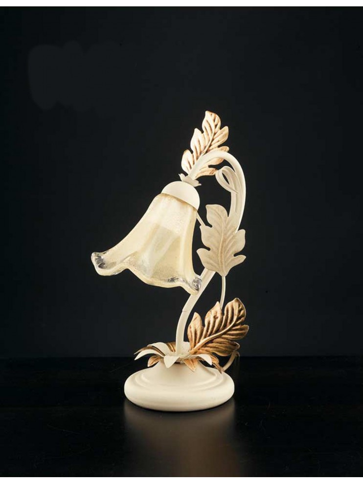 Classic table lamp in wrought iron 1 light ivory-gold LP 130