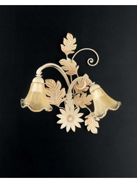Classic applique in wrought iron ivory-gold 2 lights Ap 130/2