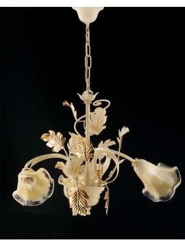 Lampadario 3 luci ferro battuto avorio-oro art. LS130/3