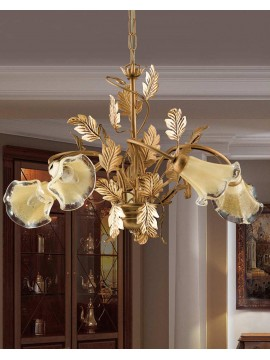 Classic chandelier in wrought iron 5 lights LS 130/5 gold