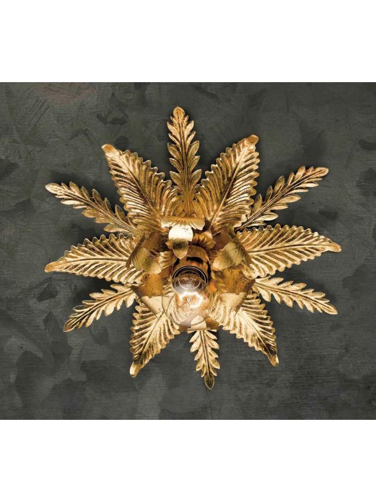 Plafoniera classica in ferro battuto foglia oro 1 luce PL 126/1