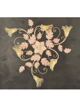 Classic ceiling lamp in wrought iron 6 lights ivory-pink PL 130/6