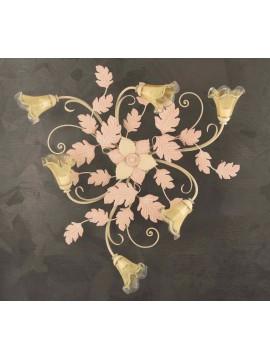 Plafoniera classica in ferro battuto 6 luci avorio-rosa PL 130/6