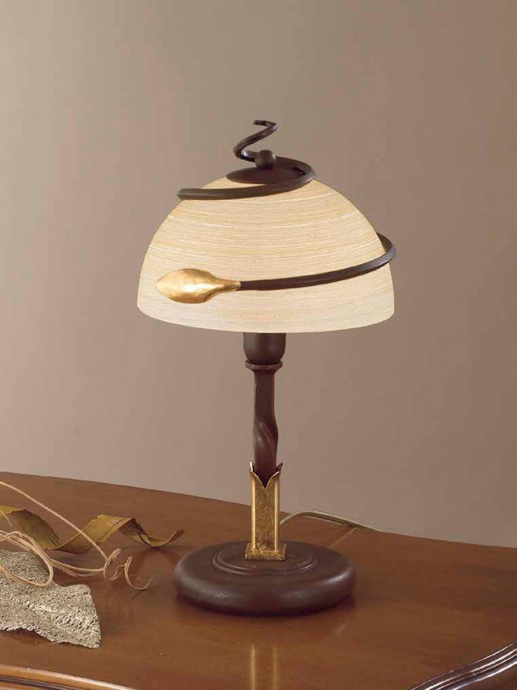 Classic table lamp in rust-gold wrought iron 1 light LP 110