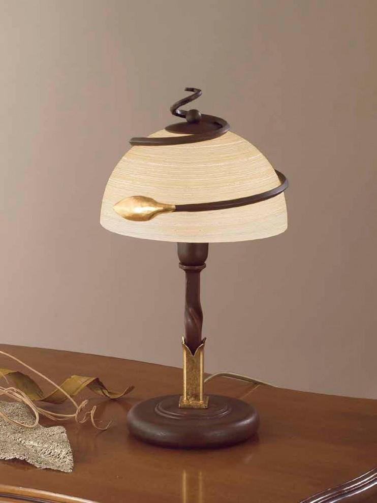 Lumetto classico in ferro battuto ruggine-oro 1 luce LP 110