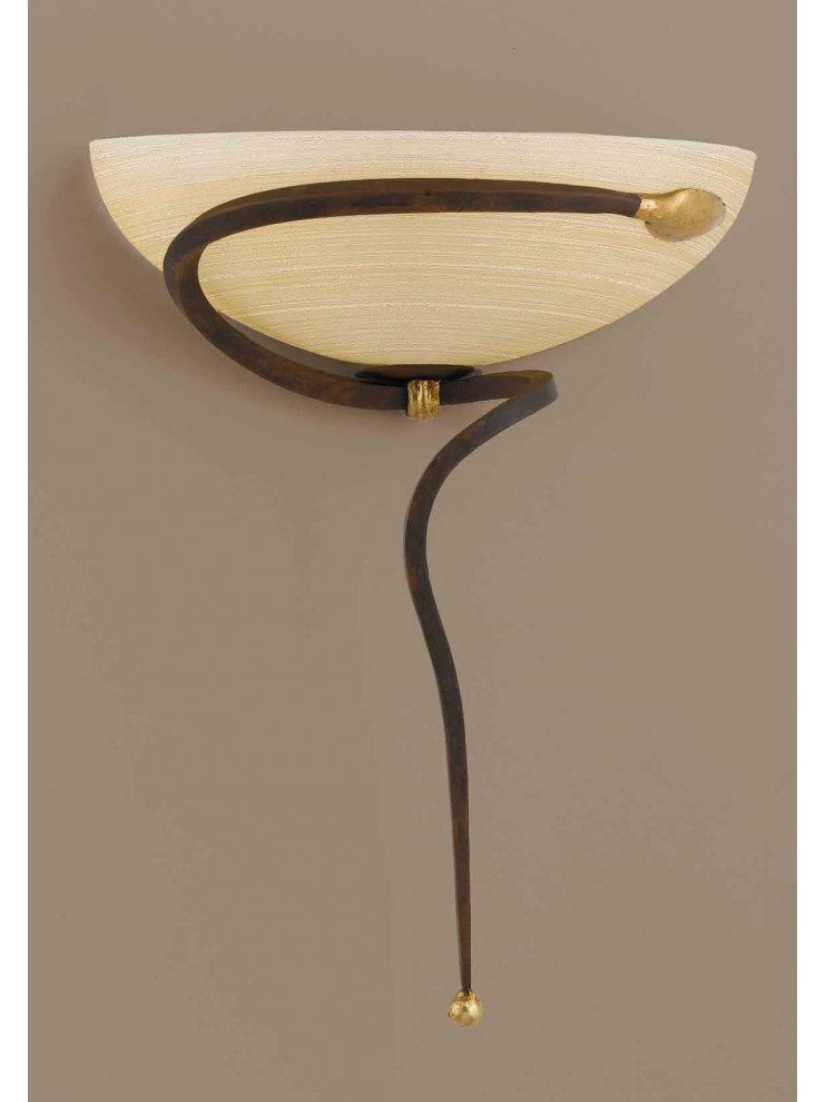 Applique classico in ferro battuto ruggine-oro 1 luce Ap 110/30vlam