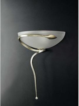 Applique classico in ferro battuto foglia argento 1 luce Ap 110/30vl