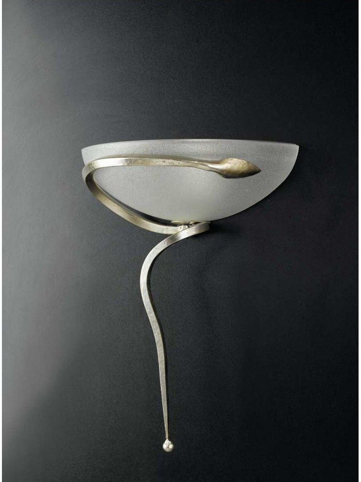 Classic wall light in wrought iron silver leaf 1 light Ap 110 / 30vl