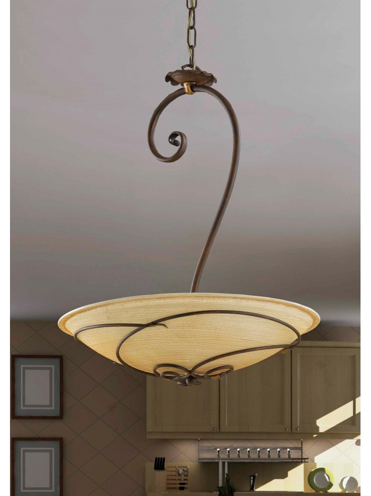 Classic chandelier in rust-gold wrought iron 3 lights So 107/50