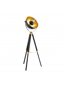 Piantana vintage in legno nero e oro 1 luce GLO 49618 Covaleda