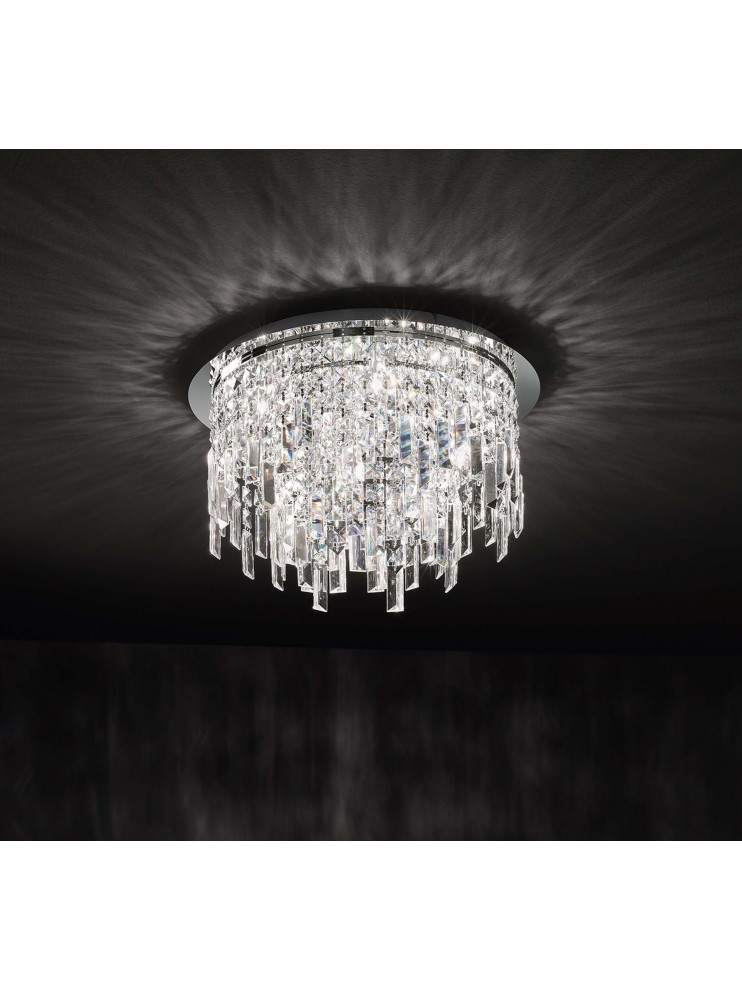 Plafoniera moderna 9 luci affra 2187 Frangia design swarovsky